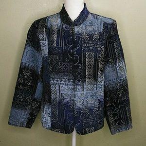 Dress Barn Blue Tapestry Zip Front Jacket L